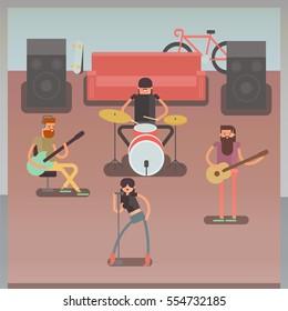 musical group. rock or jazz band. boyband