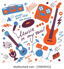 Musical hand-drawn icons. Doodle elements for print, digital, web. Hand-written inscription Music in my soul. Vector