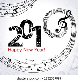 Musical Happy New Year background with notes 2019