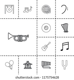 Musical icon. collection of 13 musical outline icons such as gong, bass clef, music note, xylophone, harp, tonometer, guitar. editable musical icons for web and mobile.
