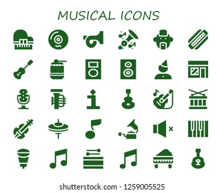 musical icon set. 30 filled musical icons. Simple modern icons about  - Piano, Vinyl, French horn, Trumpet, Punk, Harmonica, Acoustic guitar, Drum, Mp player, Subwoofer, Birthday