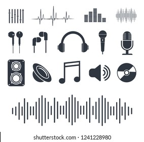 Musical icons. Badges for music player. Vector illustration.