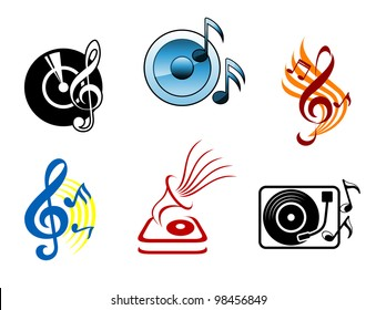 Musical icons and symbols for design and decoration, such  a logos. Jpeg version also available in gallery