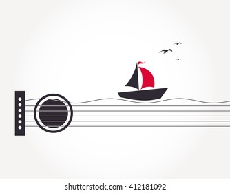Musical illustration with abstract guitar, boat and birds in the sky