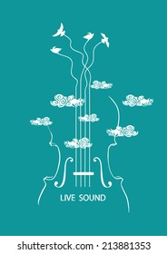 Musical illustration with concept cello and birds in the sky