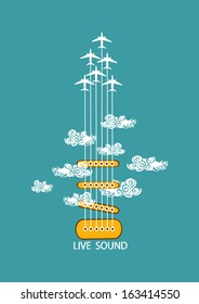 Musical illustration with concept guitar and airplanes in the sky