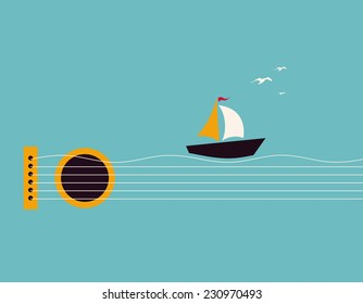 Musical illustration with concept guitar, boat and birds in the sky