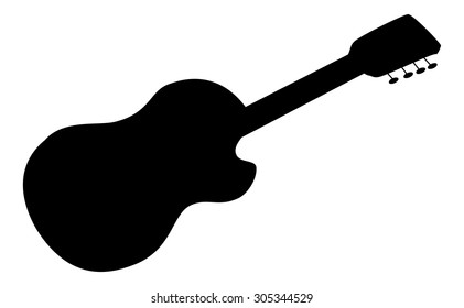 Musical Instrument Acoustic Guitar Black Silhouettes Contours Isolated on White Background. Vector
