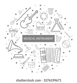 Musical instrument background from line icon. Linear vector pattern
