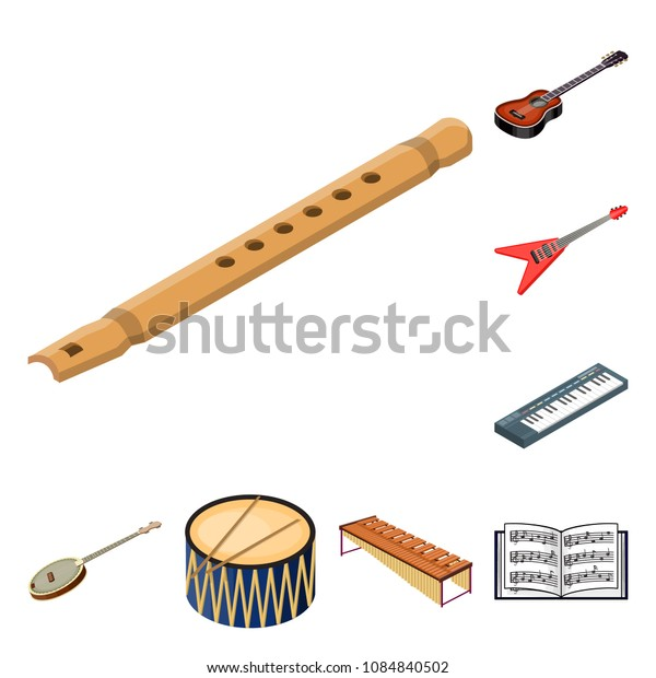 Musical instrument cartoon icons in set collection for design. String and Wind instrument isometric vector symbol stock web illustration.