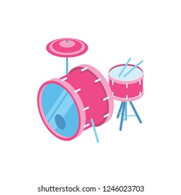 Musical instrument drum set, percussion drums, concert stage, stage musician. Loud music, rock, jazz, pop. Creative idea illustration. 3d vector isometric icon