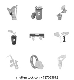 Musical instrument, garbage and ecology, electric applianc and other web icon in monochrome style. Megaphone, finishing checkered flag, gesture and manipulation with hands icons in set collection.