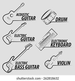 musical instrument icon set design