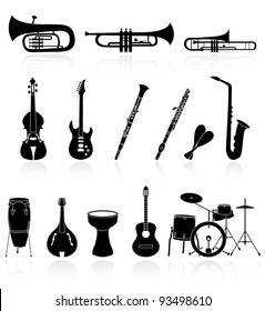 musical instrument icons,easy to edit or re size