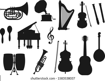 Musical instrument isolated monochrome icons. Vector classic, jazz and folk music tools. Retro drum and violin, piano and trumpet, maracas and horn. Guitar and harp, gramophone and trumpet, cello