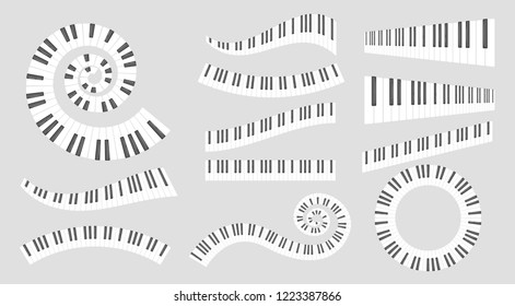 Musical instrument keys. Vector set isolated on grey background.