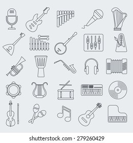 Musical instrument line vector icon.