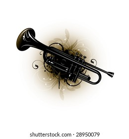 musical instrument on a floral background