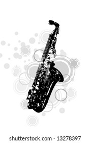 musical instrument the saxophone with decorative elements