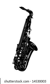 musical instrument a saxophone on a white background