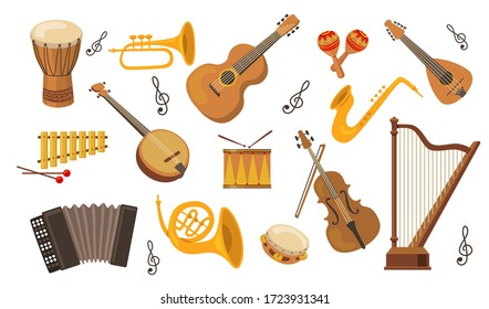 Musical instrument set. Accordion, guitar, harp, ethnic drum, violin, saxophone. Can be used for orchestra, acoustic concert, music, school concept