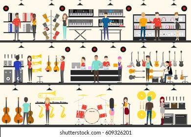 musical instrument store interior vector illustration set