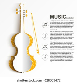 Musical instrument template with text paper white violin silhouette and notes icons on light background vector illustration