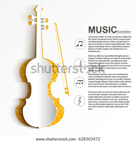 musical instrument template text paper white のベクター画像素材