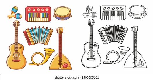Musical instrument - Violin, drum, accordion, percussion, electric piano, guitar, rhythmix, horn, saxophone, balalaika, maracas. Cute cartoon musical instruments.Musical toy. Design elements set