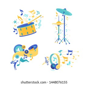 Musical instruments and audio listening illustrations set. Percussion, drum cymbals and snare flat drawing. Modern headphones isolated clipart. Play, stop music app icons. Jazz musician playing sax