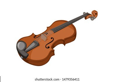 Musical instruments. Beautiful Wooden  Violin in Cartoon Style Isolated on White Background