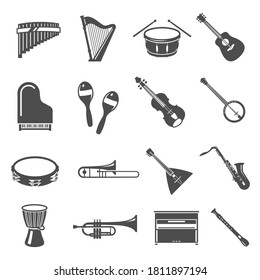 Musical instruments bold black silhouette icons set isolated on white. Harp, drum, flute, piano pictograms collection, logos. Guitar, shakers, sax, violin vector elements for infographic, web.