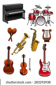 Musical instruments in cartoon style with piano, drum set, maracas, trumpet, saxophone, violin, lyre, acoustic and electric guitars