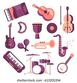 musical instruments cartoon vector set. synthesizer, drum, jumbo, violin, saxophone, accordion, tambourine, maracas, trumpet, drive, bass guitar