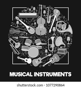 Musical instruments in a circle. White silhouettes on a black background with a white frame. String, percussion, percussion, wind instruments for the orchestra, for the design of musical events Vector