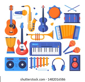 Musical instruments - colorful flat design style objects