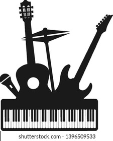 Musical instruments decorative icons silhouette black set with guitar drums headphones vector illustration.
