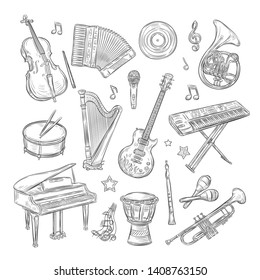 Musical instruments doodles. Drum flute synthesizer accordion guitar microphone piano musical notes retro hand drawn sketch vector set