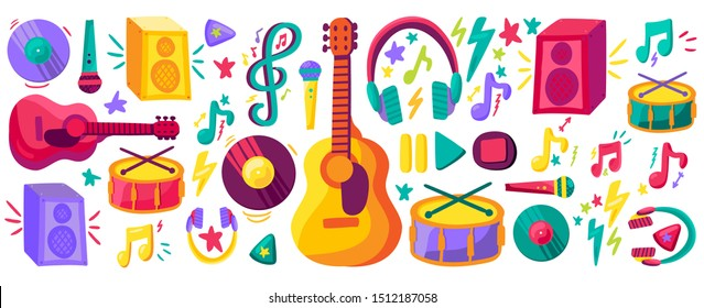 Musical instruments flat cliparts set. Hand drawn orchestra equipment collection. Stickers pack