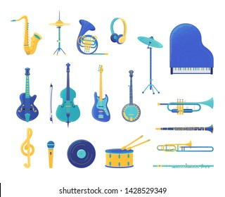Musical instruments flat vector illustrations set. Electric guitar, grand piano, trumpet, saxophone isolated design elements. Wind and string instruments. Retro music record and microphone