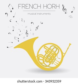 Musical instruments graphic template. French horn. Vector illustration