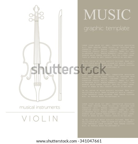 musical instruments graphic template violin vector stock vector