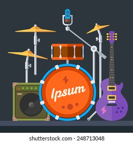 Musical instruments: guitar, drums, cymbals, synthesizer, speaker, microphone. Vector flat illustration