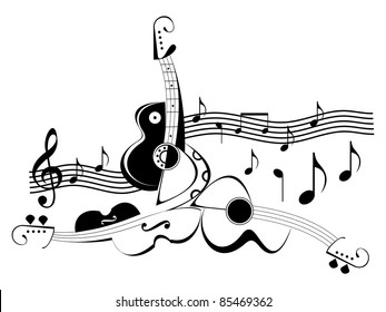 Musical instruments - guitars and violin. Black and white abstract vector illustration. String instruments and music notes.