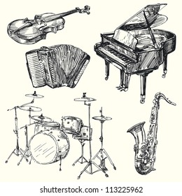 musical instruments - hand drawn collection