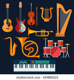 Musical instruments icons of drum set, acoustic and electric guitars, violin, synthesizer, saxophone, trumpet, harp, ancient lyre and horn. Art, culture, musical entertainment concept