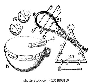 Musical instruments is an instrument created or adapted to make musical sounds, vintage line drawing or engraving illustration.
