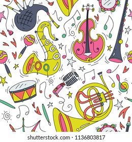 Musical instruments isolated on white background - seamless pattern . Vector illustration. Saxophone, cello, french horn, bagpipes flute. Design for paper, textile. Modern fun cartoon style.