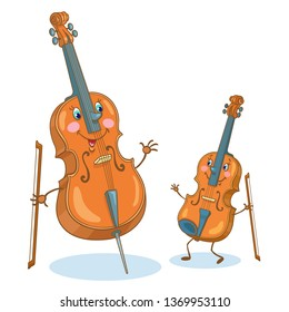 Musical instruments. Meeting of cute violin and cello. In cartoon style. Isolated on white background.  Vector illustration.