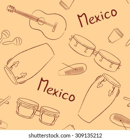 Musical instruments Mexico hand drawn vector pattern